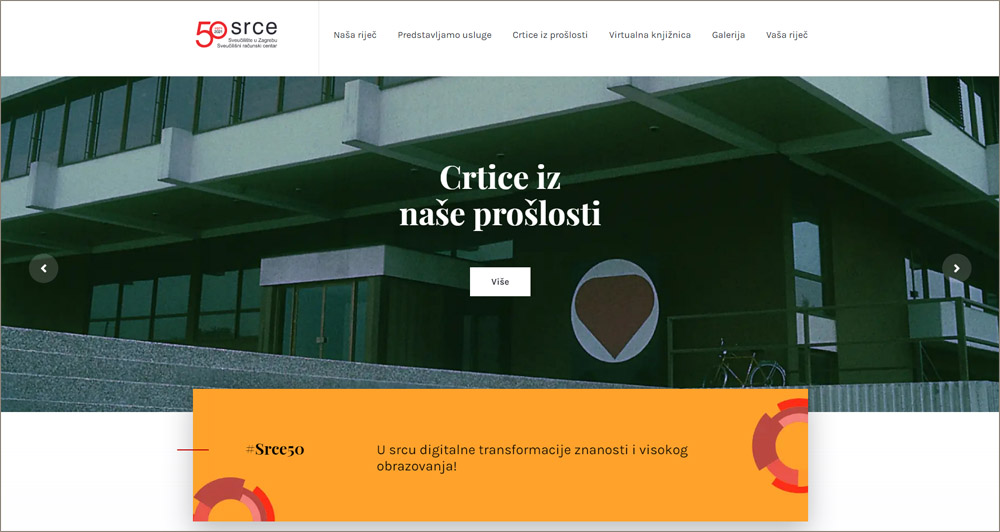 Anniversary website to mark the 50th birthday of SRCE
